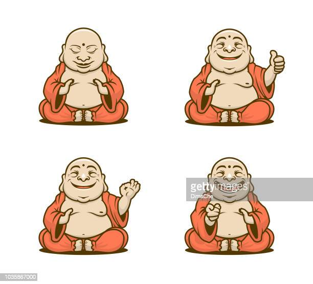 Buddhist monk cartoon characters vector set