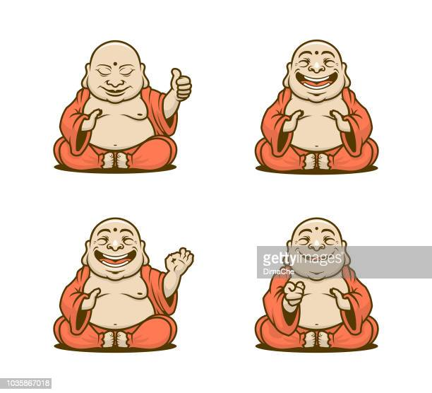 buddhist monk cartoon characters vector set - ceremonial robe stock illustrations