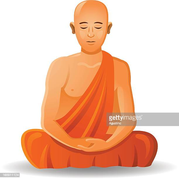 buddhist mönch - nepal stock-grafiken, -clipart, -cartoons und -symbole