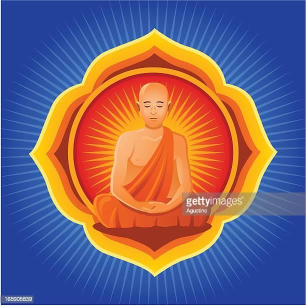 buddhist monk with mandala - lotus position stock illustrations