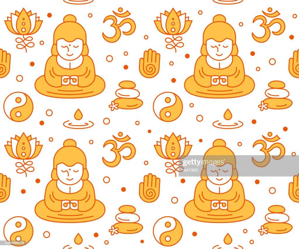 Buddhist religious sacred symbols seamles