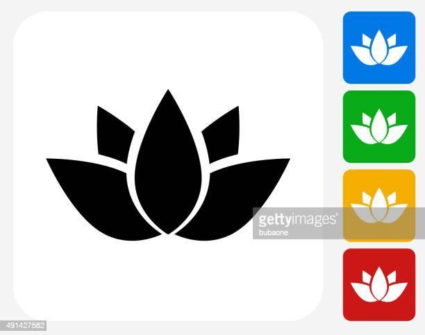 buddhist symbol icon flat graphic design - lotus position stock illustrations