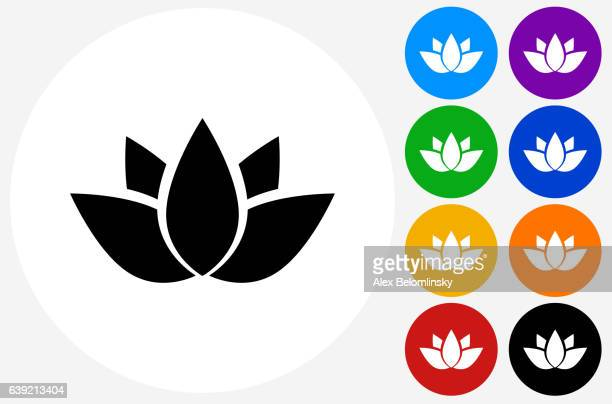 Buddhist Symbol Icon on Flat Color Circle Buttons