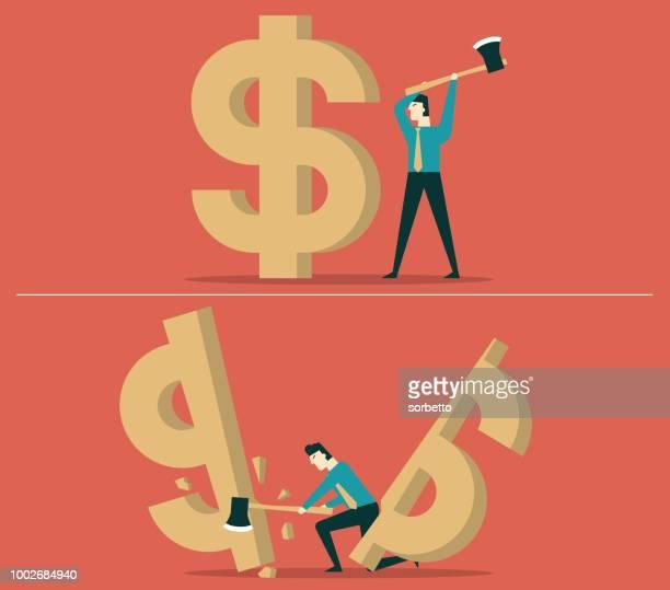 budget cut - businessman - spending money stock illustrations, clip art, cartoons, & icons