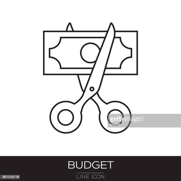 budget cut line icon - cutting stock illustrations