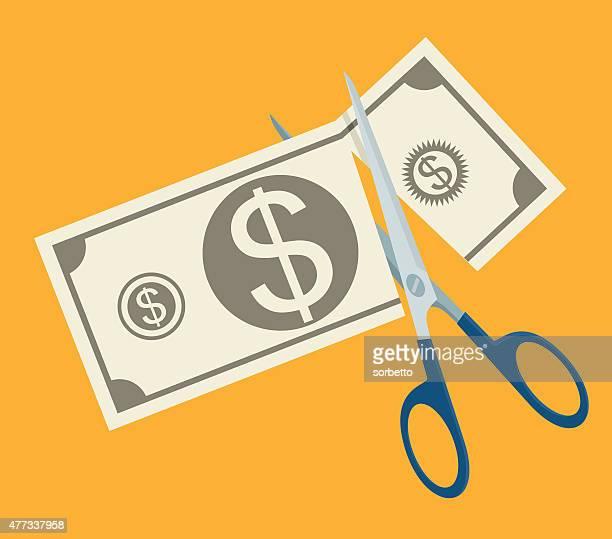 budget cut - spending money stock illustrations, clip art, cartoons, & icons