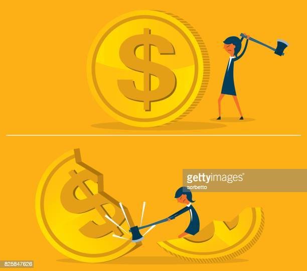 budget cut with businesswoman - spending money stock illustrations, clip art, cartoons, & icons