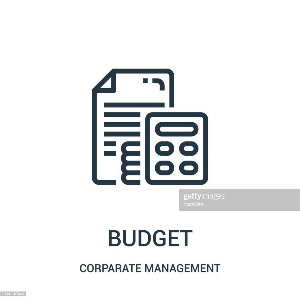 budget icon vector from corparate management collection. Thin line budget outline icon vector illustration. Linear symbol for use on web and mobile apps, logo, print media.