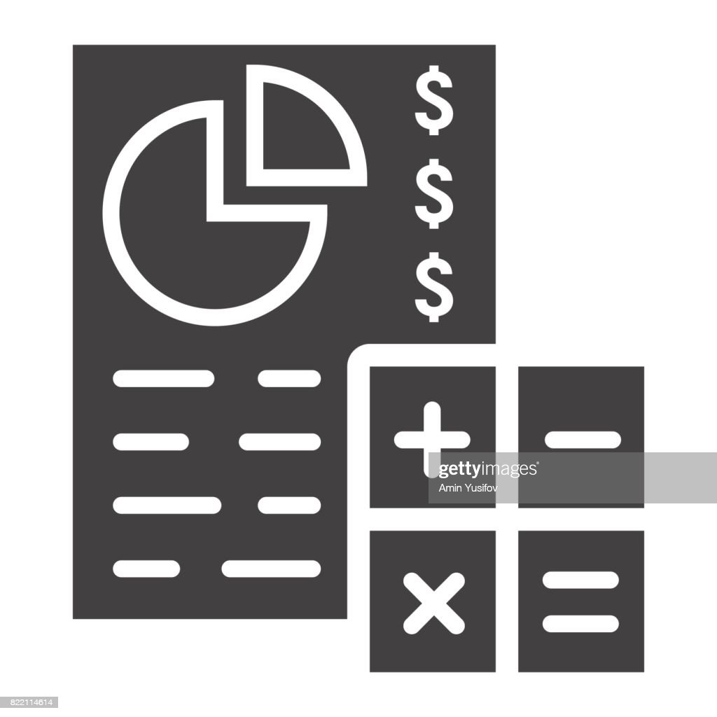 budget planing glyph icon business and finance calculate sign vector