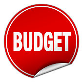 budget round red sticker isolated on white