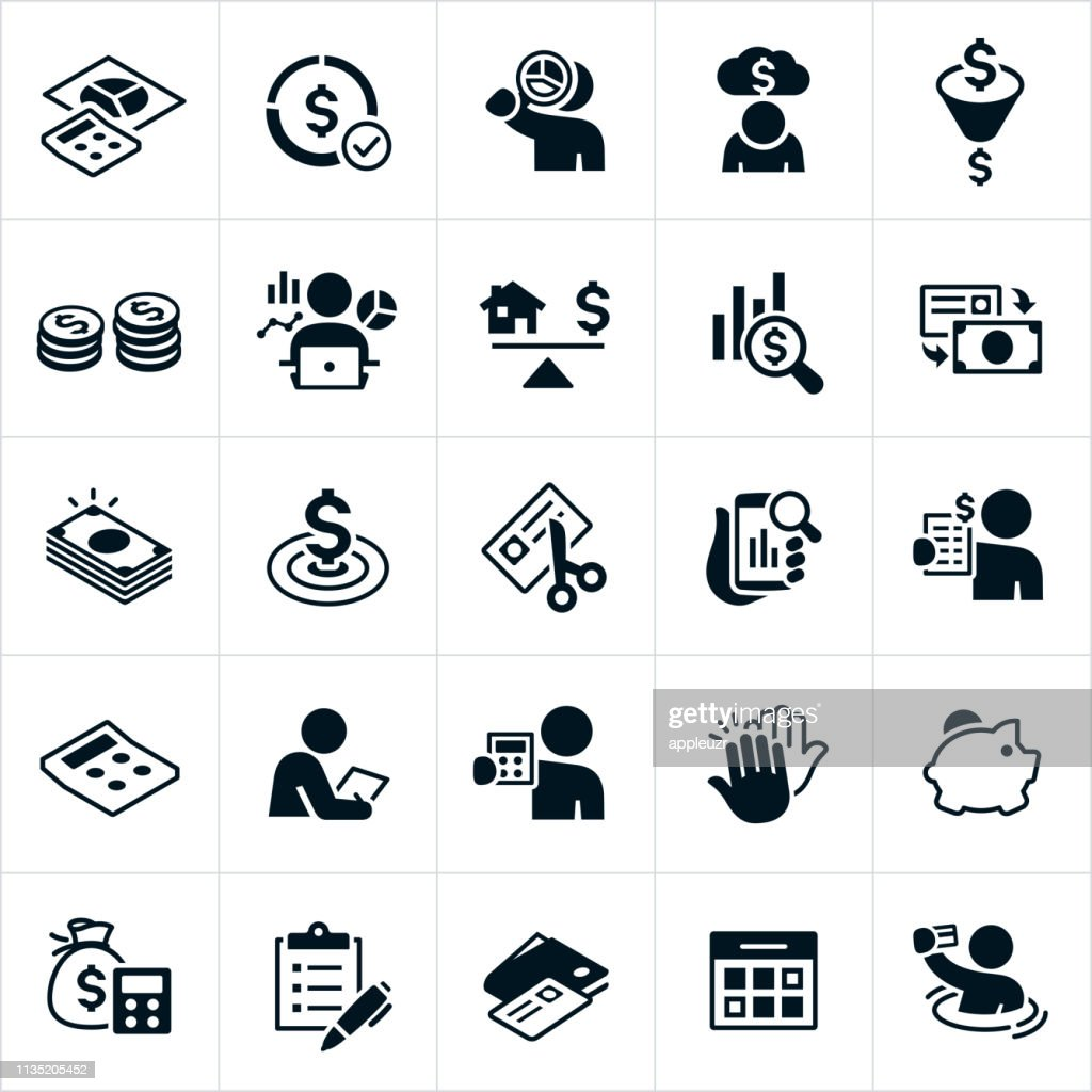 Budgeting Icons : stock illustration