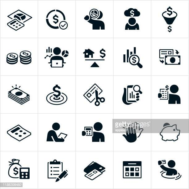 budgeting icons - cash flow stock illustrations, clip art, cartoons, & icons