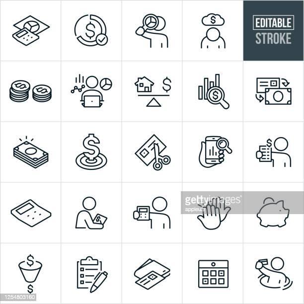 illustrazioni stock, clip art, cartoni animati e icone di tendenza di budgeting thin line icons - tratto modificabile - piano finanziario