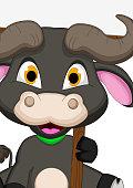 buffalo cartoon with blank sign
