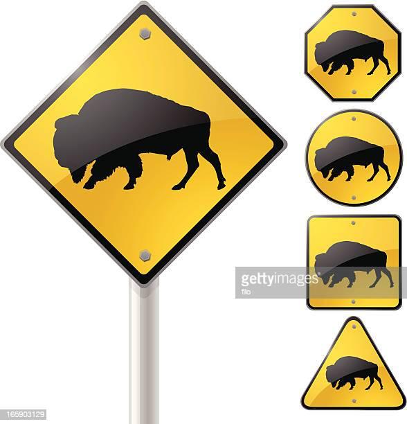 buffalo crossing sign - european bison stock illustrations, clip art, cartoons, & icons