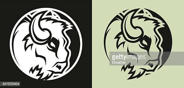 buffalo head mascot - african buffalo stock illustrations, clip art, cartoons, & icons
