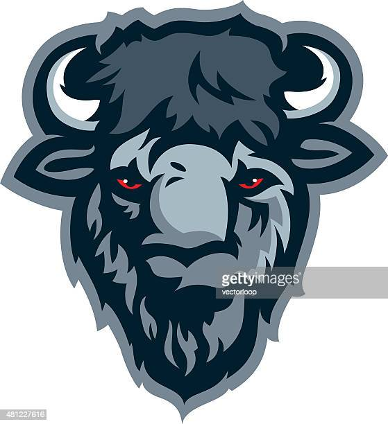 buffalo head - african buffalo stock illustrations, clip art, cartoons, & icons