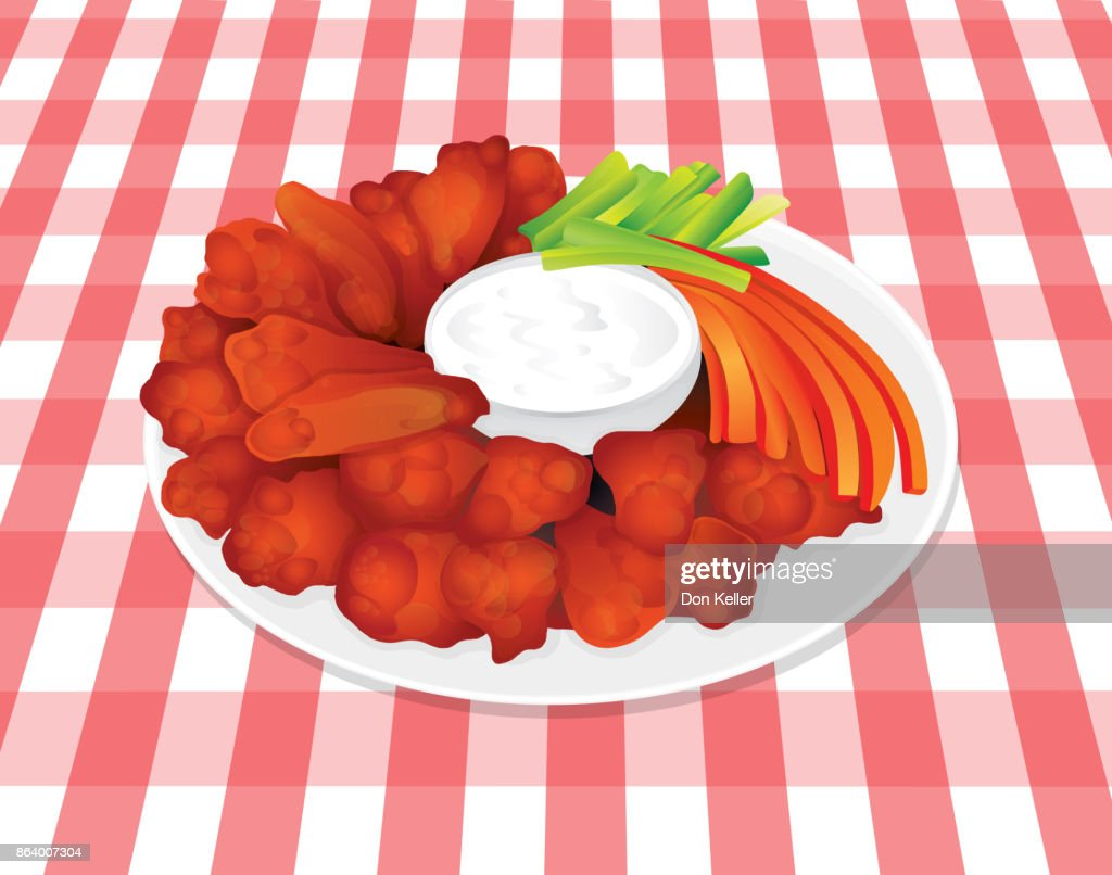 Buffalo Hot Chicken Wings Blue Cheese, Celery, Carrots on Plaid Tablecloth