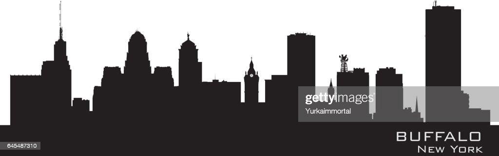 Buffalo New York city skyline silhouette