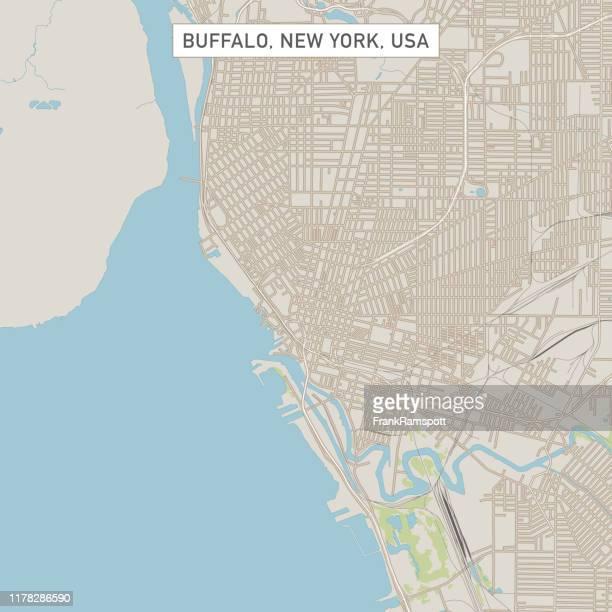 buffalo new york us city street map - buffalo new york state stock illustrations