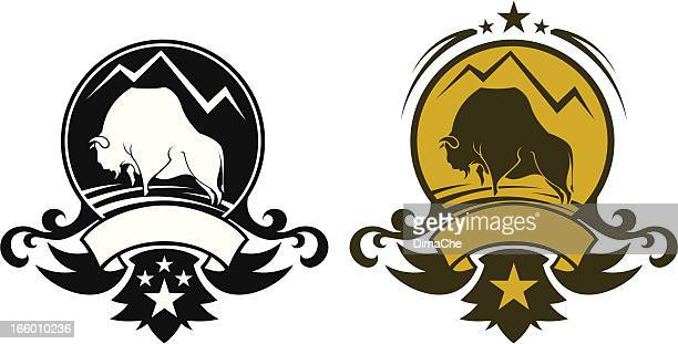 buffalo symbol - european bison stock illustrations, clip art, cartoons, & icons