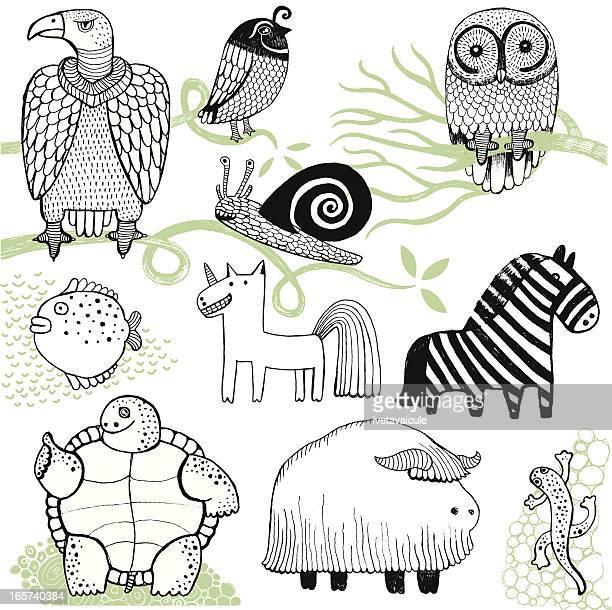 Buffalo, zebra, tortoise, owl, vulture, newt, snail, unicorn and fish