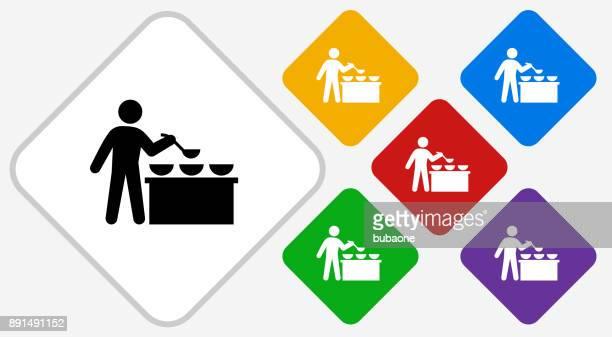 Buffet und Suppenküche Farbe Diamant Vektor Icon