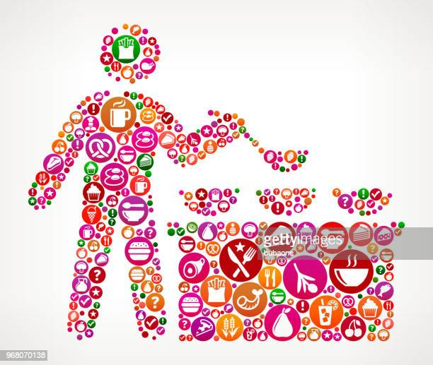 Buffet und Suppenküche Lebensmittel und Ernährung Vektor Icon Hintergrund