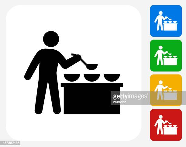 Buffet and Soup Kitchen Icon Flat Graphic Design