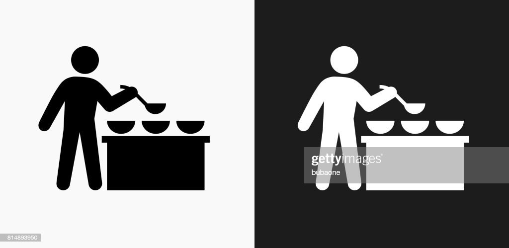 Buffet and Soup Kitchen Icon on Black and White Vector Backgrounds : stock illustration