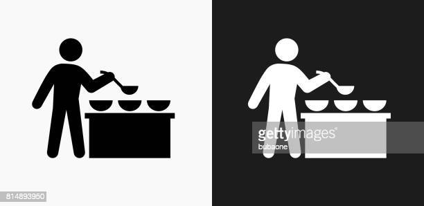 Buffet and Soup Kitchen Icon on Black and White Vector Backgrounds