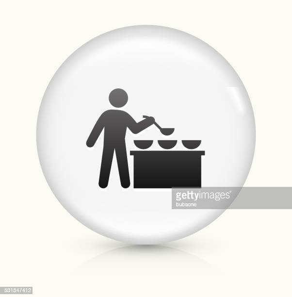 Buffet and Soup Kitchen icon on white round vector button