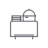 buffet in restaurant vector line icon, sign, illustration on background, editable strokes