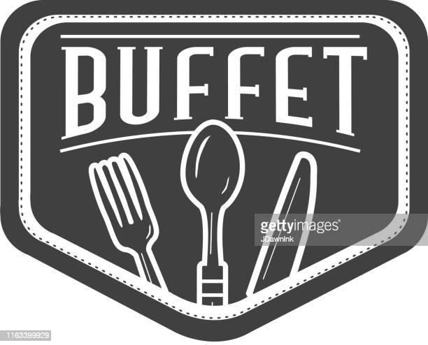 illustrations, cliparts, dessins animés et icônes de étiquette de buffet avec des conceptions de texte aussi bien que des ustensiles de restaurant - aperitif dinatoire