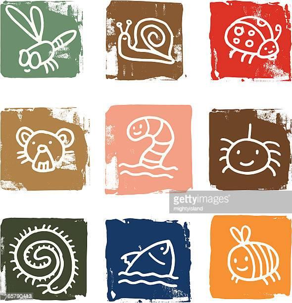 ilustrações de stock, clip art, desenhos animados e ícones de ícone de bug e animal blocos - centopeia