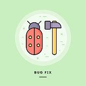 Bug fix, flat design thin line banner. Vector illustration.