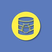 Bug in database flat icon. Computing vector illustration