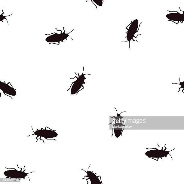 ilustraciones, imágenes clip art, dibujos animados e iconos de stock de patrón de insecto - cucarachas