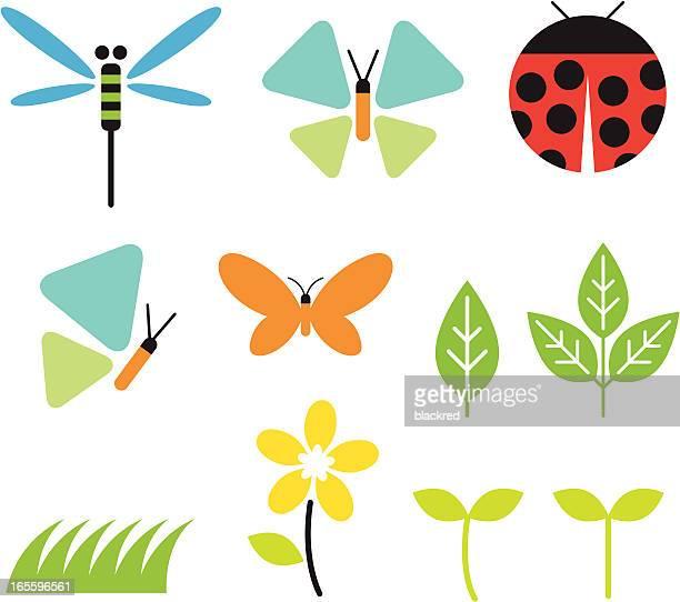 illustrations, cliparts, dessins animés et icônes de bugs et le jardin - coccinelle
