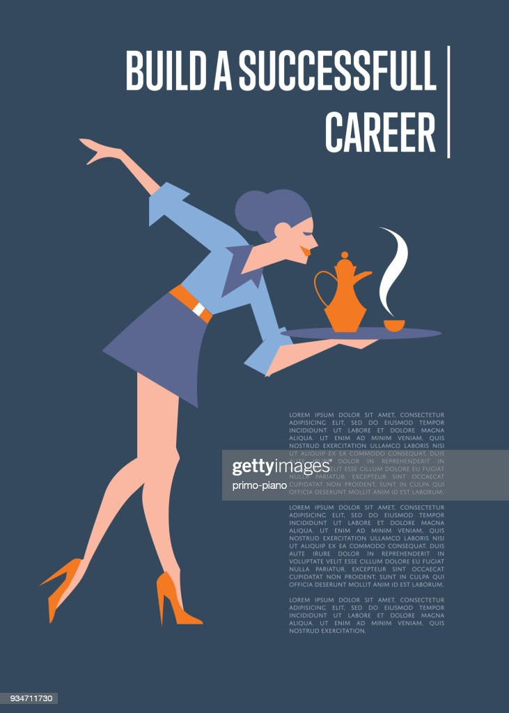 Build successful career banner with secretary