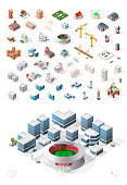 Build Your Own Isometric City . Isolated High Quality Vector Elements on White Background