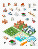 Build Your Own Isometric City . Isolated Vector Elements on Transparent Background