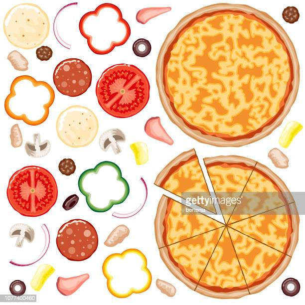 build your own pizza set - green bell pepper stock illustrations