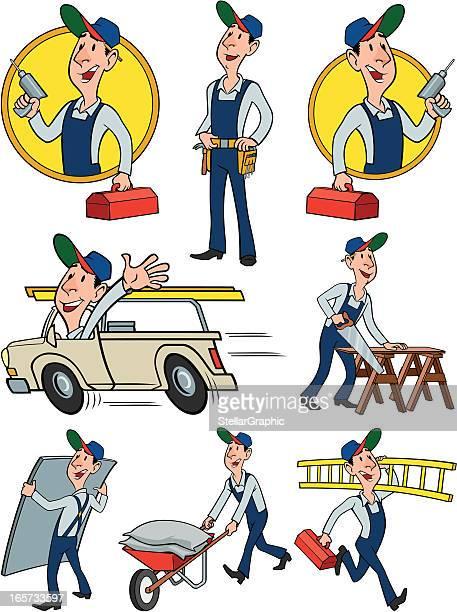 builder group - tool belt stock illustrations, clip art, cartoons, & icons
