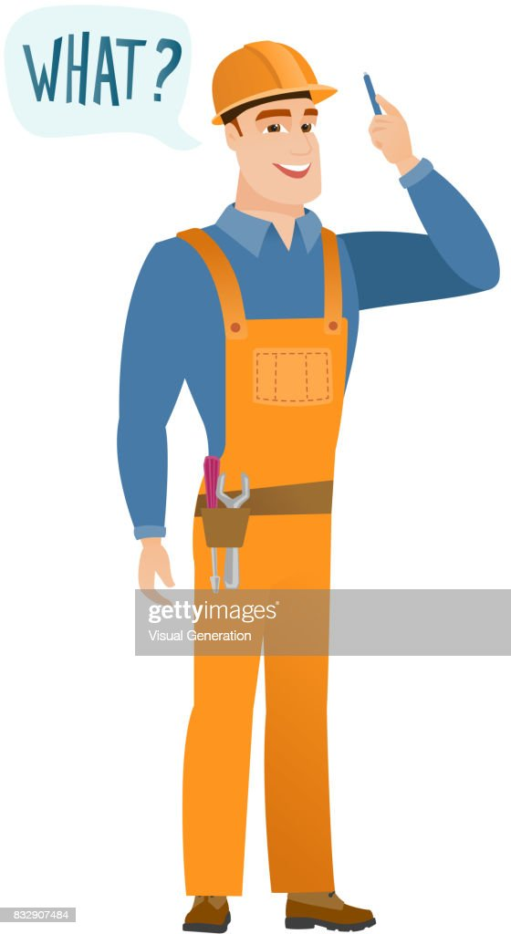 Builder with question what in speech bubble
