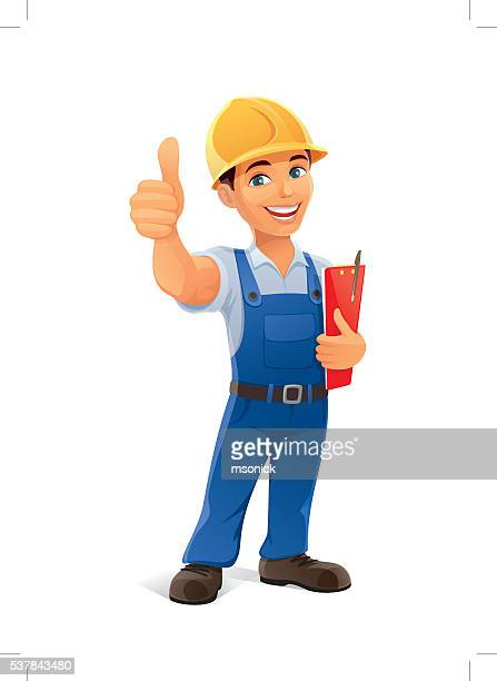 builder with thumb up - foreman stock illustrations, clip art, cartoons, & icons