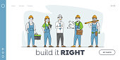 Builder, Worker Constructors Landing Page Template. Engineers with Tools and Blueprints. Architects with House Plan