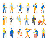 Builders and Engineers with Tools and Bricks Set