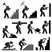 Builders Constructors Workers at Construction Sites