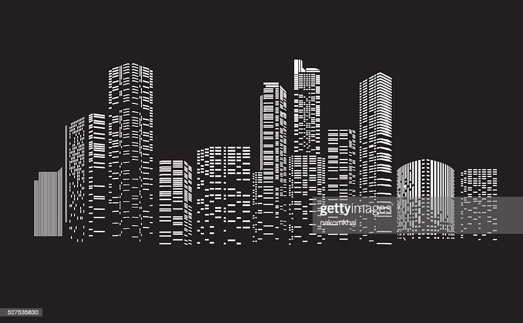 Building and City Illustration at night